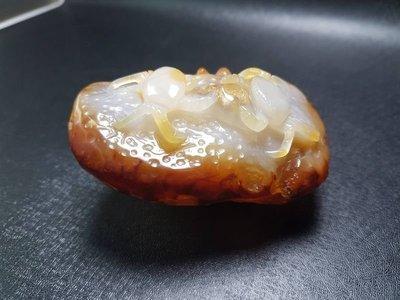 天然瑪瑙原礦 螃蟹(八方來財) 精雕把件 擺件 ※原石/玉髓/水晶