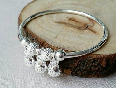 嗨,寶貝銀飾珠寶* 925純銀☆復古 時尚 錢袋 燈籠垂墜 實心純銀手環 手鐲