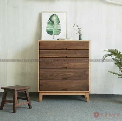 [紅蘋果傢俱]MJ004 北歐日式 實木傢俱 五斗櫃 抽屜櫃 餐邊櫃 客廳 臥室 儲物 收納櫃