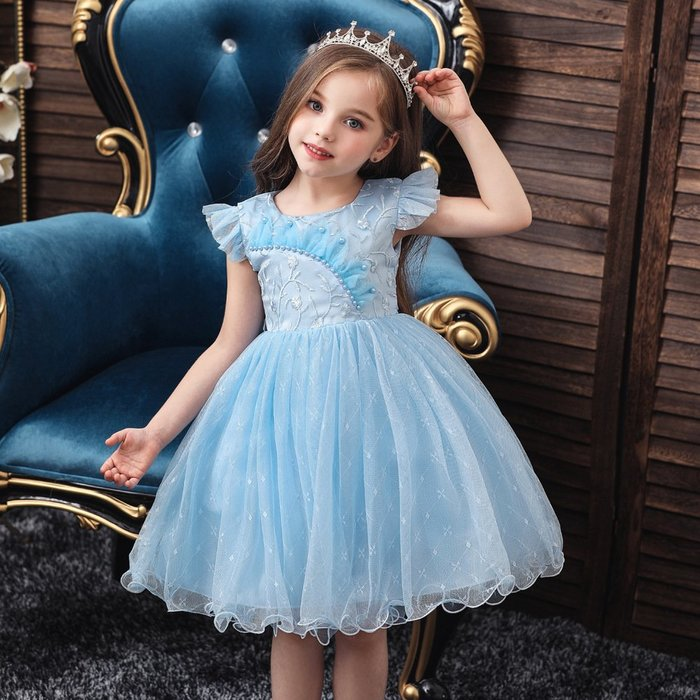 •*~ 辣媽咪衣飾小舖 ~*•❤童裝系列❤K970487韓版小童夏款甜美清新時尚蓬蓬蕾絲亮片可愛公主禮服公主洋裝