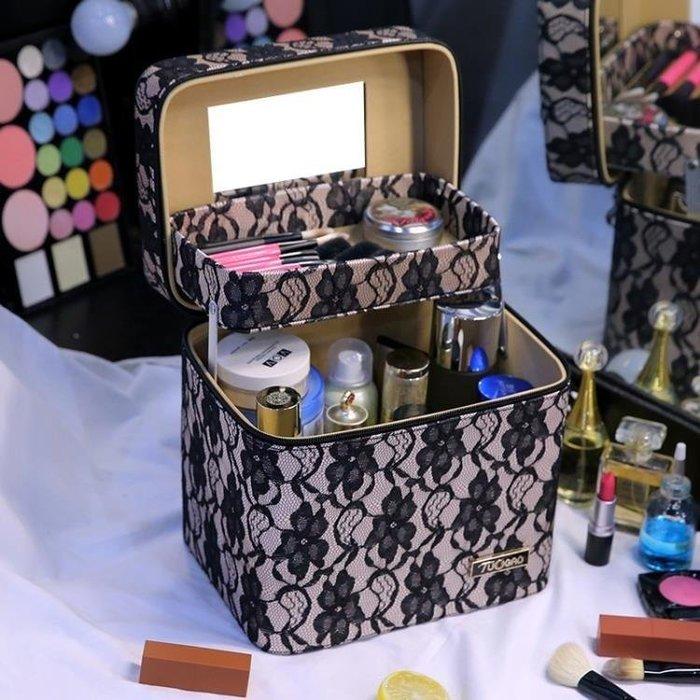 YEAHSHOP 化妝箱 雙層大容量化妝包多層韓國手提可愛小號便攜簡約收納箱盒品 2888Y185