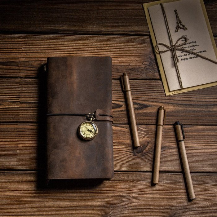 【18x10.5】牛皮活頁旅行筆記本  真皮日記本 複古手工記事本 !!送本芯 送黃銅筆夾 送書籤掛件