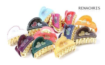 BHI462-法國品牌RenaChris 施華洛世奇晶鑽愛心鯊魚夾 抓夾-附原裝包裝盒【韓國製】