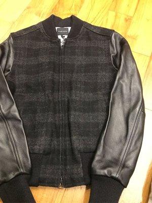 Wings + Horns Tweed Varsity Jacket 羊毛料 黑灰格紋 牛皮袖 棒球外套 Size: Small