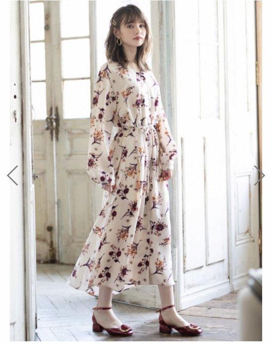 預購 日本 清新漂亮花朵雪紡洋裝 雪紡洋裝 碎花 洋裝