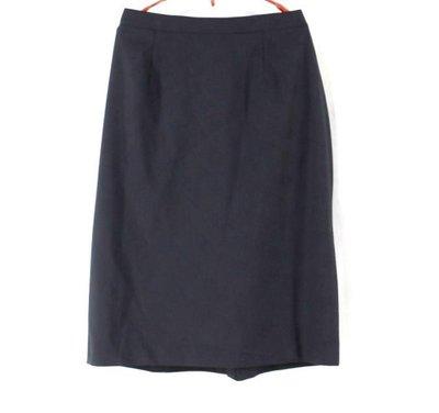 ※美國品牌※【JONES NEW YORK】大尺碼 深藍色 鬆緊腰帶 羊毛中裙