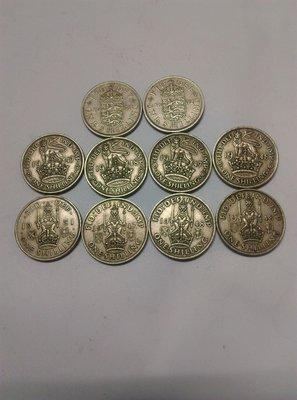 英國1先令錢幣10枚,相同造型錢幣出貨,但錢幣年分隨機不能特定,圖片僅供參考