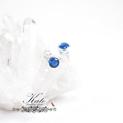 特價爆款 純銀耳環 銀飾  5mm藍鑽  藍寶色  基本款 925純銀寶石耳環/生日禮物情人禮/KATE銀飾