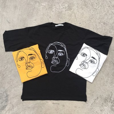 【inSAne】韓國購入 / 抽象化人頭 / 刺繡 / 短TEE / 單一尺寸 / 黑色 & 白色 & 黃色
