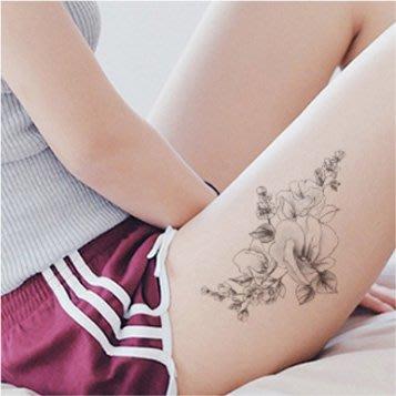 【萌古屋】線條花朵手臂花臂 - 男女防水紋身貼紙微刺青貼紙SY-B112 K29