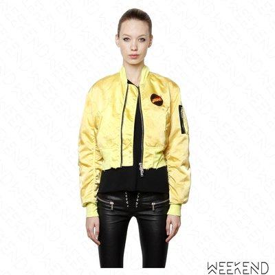 【WEEKEND】 UNRAVEL 火焰  緞面 短版 黃色 飛行員 外套