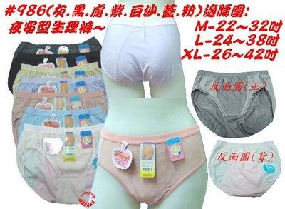 ☆鳳之屋☆柔軟~舒適~貼身透氣~高彈力夜安型生理褲(台灣製)#986