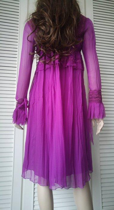 原價$44900 全新PHILOSOPHY DI ALBERTA FERRETTI 葡萄酒紅仙氣純絲蕾絲洋裝
