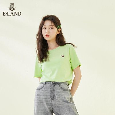「尤尚小鋪」 ELAND衣戀夏季柯基短袖T恤多色簡約式寬松打底內搭上衣依戀D32B