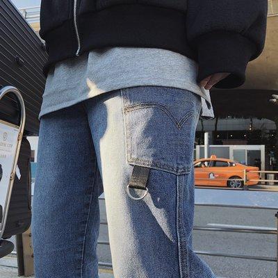 工裝褲 休閒褲 韓版潮男水洗藍直筒褲淺色牛仔褲工裝褲網紅ins
