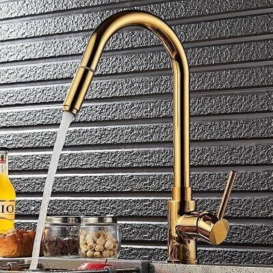 【優上】歐式全銅廚房抽拉水龍頭金色洗菜盆廚房水槽龍頭臺下盆伸縮龍頭
