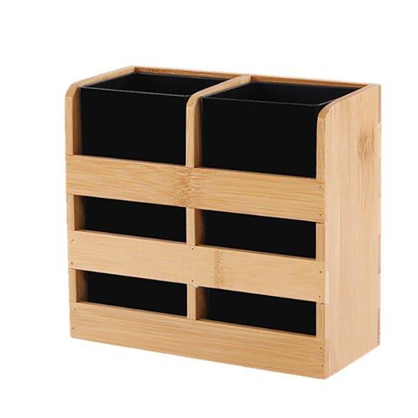 多功能竹質筷子筒筷籠瀝水筷子架分格筷子簍餐具收納盒