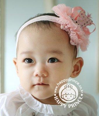 BHL078-韓劇童星愛用品牌HappyPrince 可愛蕾絲小熊公主寶寶嬰兒童髮帶【現貨】韓國製