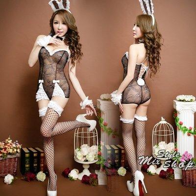 MIX style SHOP【S-558】萌兔7件套裝❤俏皮兔女郎蕾絲後綁帶連身內衣七件全配套裝
