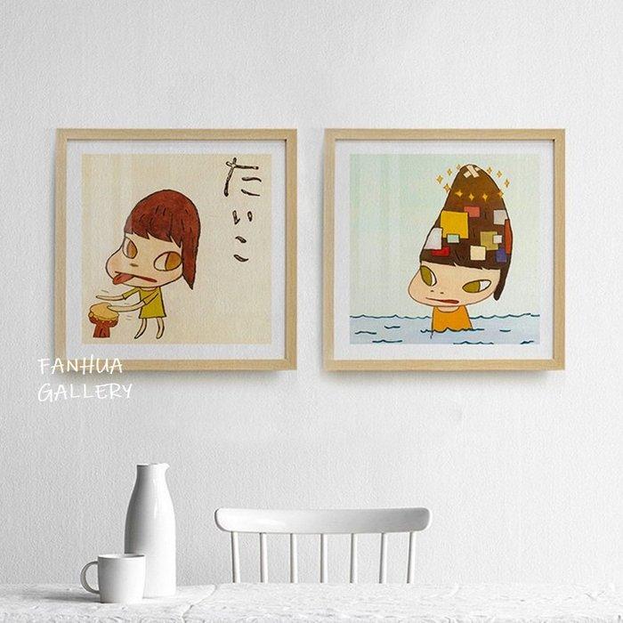 C - R - A - Z - Y - T - O - W - N 奈良美智掛畫人文藝術裝飾畫兒童房間掛畫 民宿掛畫日式卡通掛畫奈良美智夢遊娃娃版畫小孩臥室掛畫