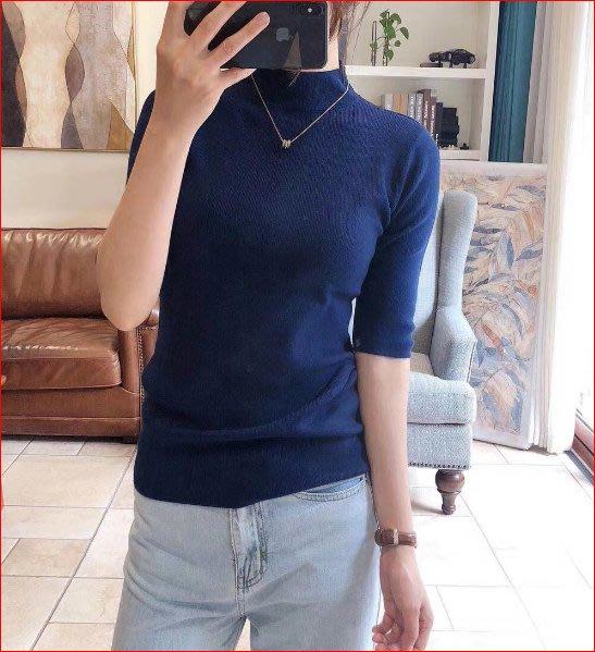 【艾蜜麗】簡約百搭半高領五分袖針織彈力打底毛衣 (9色)