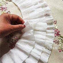 『ღIAsa 愛莎ღ手作雜貨』(50cm)黑白色三層雪紡蕾絲百褶皺裙擺袖口子娃娃裙子接長裙擺花邊輔料寬12cm
