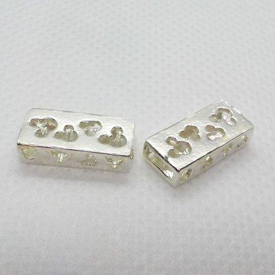 琥珀貓銀飾DIY【925純銀材料配件】造型方珠~A1262~鏤空米奇~一個