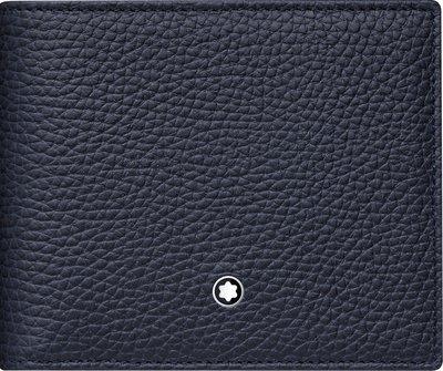 萬寶龍 MONTBLANC 型號:116740 荔枝紋牛皮6卡短夾-藍 (代購)