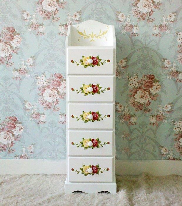 粉紅玫瑰精品屋~韓式田園小斗櫃儲藏櫃手繪花架電話桌~