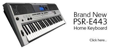 造韻樂器音響- JU-MUSIC - 全新 Yamaha PSR-E443 電子琴 61鍵 標準 力度 鍵盤 E433 進化版