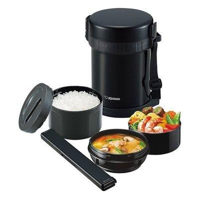 象印 ZOJIRUSHI  SL-GH18 不銹鋼真空保溫便當盒 黑色 3碗飯 附筷盒 筷子公司貨 超取 離島 自取
