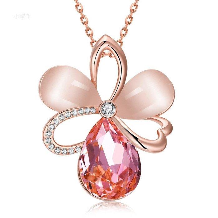 歐美時尚水晶項鏈花朵水滴吊墜玫瑰金女性飾品多色可選 新麗小舖