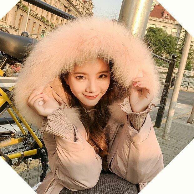 【實拍🔥】韓-冬季外套中長款/羽絨棉服/棉衣/連帽韓國寬鬆粉色外套/大毛領【S~XL】