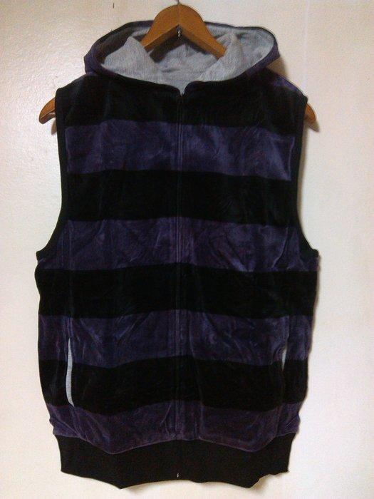 古著Vintage 黑紫配色 寬版橫條紋 天鵝絨毛巾布 雙面穿 連帽背心外套 G-Dragon 陳冠希