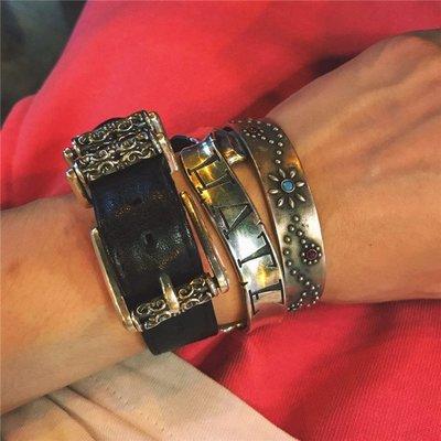 梵玉善緣 きめ天然松石とPOW-WOW 代官山銀鱚工坊925純銀手鐲銀飾