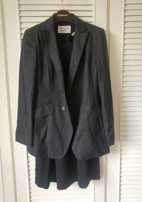 ROCHAS 鐵灰細白銀線羊毛雙排扣收腰西裝外套