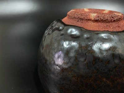 ◎和光屋◎古美術、茶道具、生活美學-日本天目大師、木村盛和油滴天目厚釉茶碗(抹茶碗)、完整、無共箱
