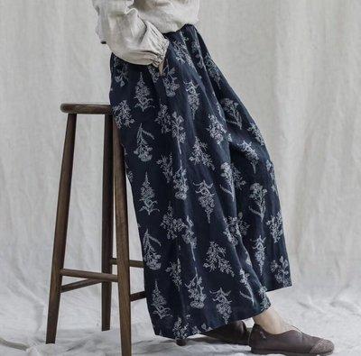 Gigi歐尼 褲子【文藝復古亞麻印花寬...