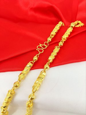 台灣現貨 24K鍍金 男士項鏈 南非錫金 越南沙金 龍柱項鏈 (鍍金24K沙金.防過敏) 4864515132