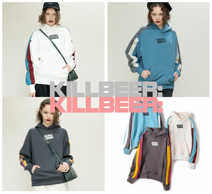 KillBeer:代購✈✈日本品牌MOUSSY歐美復古迪士尼合作款米奇文字印花撞色拼接棉質連帽T恤上衣010708