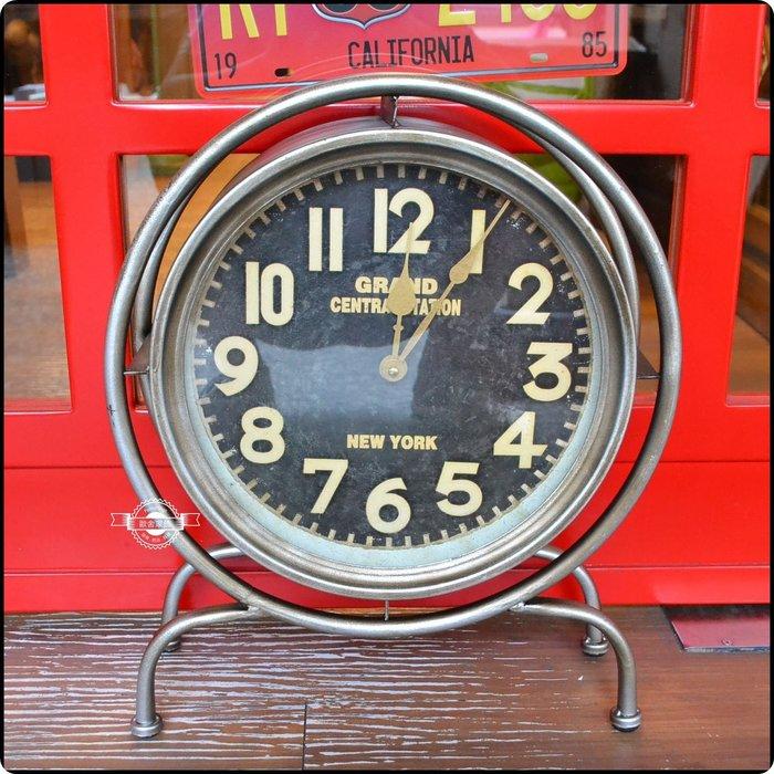 美式工業風鐵製圓形時鐘桌鐘 數字鐘造型鐘 LOFT鐵管復古仿舊刷舊居家布置裝飾婚禮佈置擺飾紐約【【歐舍家飾】】