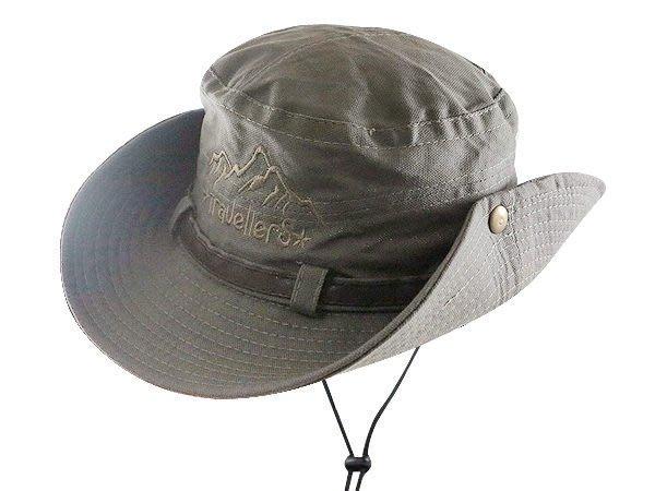 【二鹿帽飾】TravellerS 山形 / 布水洗牛仔漁夫帽/ 男女款式/皮帶款-墨綠 /登山專用帽.賞鳥帽