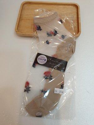 【Amys shop】日本直購~日本製~棉質淺咖色透膚可愛玫瑰花圖案造型短襪~現貨~超美