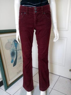 專櫃美國品牌POLO JEANS酒紅色低腰條絨長褲(女、SIZE:腰27吋半)