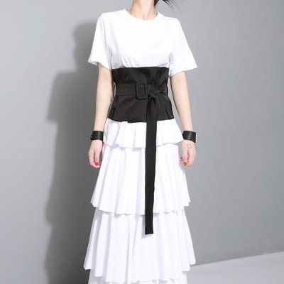 [RVP]-絲滑緞面皮帶扣超寬腰封-3...