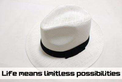『新品促銷』白色寬沿竹編紳士帽 Wide brim hat 歐美 編織 寬沿 大帽簷 春夏防曬 透氣涼爽【LtLf】