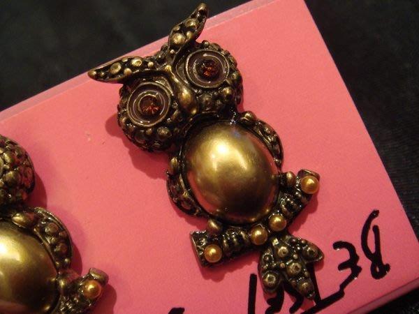 全新美國名牌 Betsey Johnson 高質感復古金貓頭鷹造形穿耳式耳環,低價起標無底價!本商品免運費!