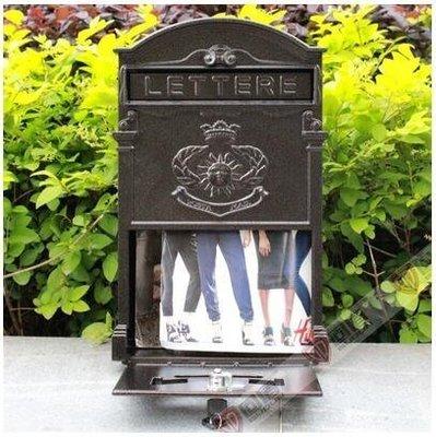 『格倫雅品』室外歐式別墅信報箱鑄鋁信箱防銹復古郵箱掛牆帶鎖-太陽皮紋咖啡