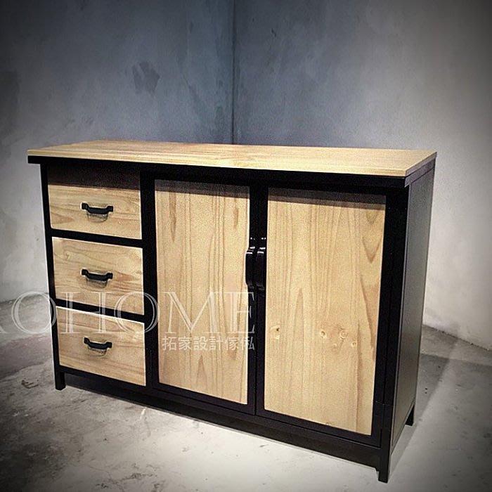 【拓家工業風家具】可訂製-美式實木抽屜收納櫃/LOFT復古層架櫃台置物櫃實木多層收納櫃展示櫃/民宿餐櫃雜誌櫃電視櫃