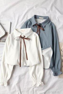 日和生活館 襯衫女秋天新款百搭學生洋氣上衣加絨白時尚長袖保暖冬襯衣潮S686